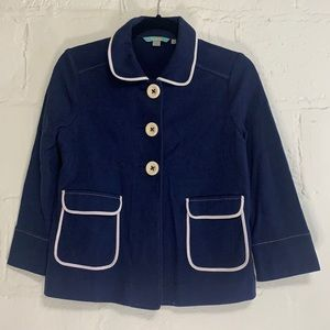 Boden Navy Cropped Button Cotton Swing Jacket Sz 6